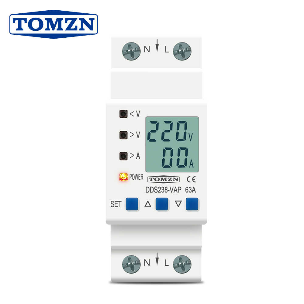 Din Rail Adjustable Over Under Voltage Protective Device Protector Current Limit Protection Voltmeter Kwh 63A 80A 110V 230V